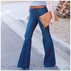 Denim - Medium wash high rise flare jeans